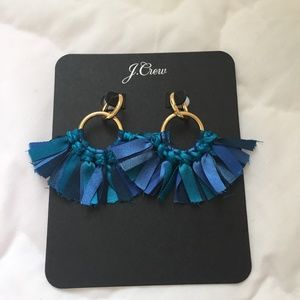 J. Crew Conga Fabric Earrings, Blue